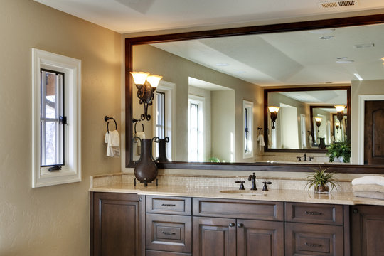 Master Bath with Large Mirror