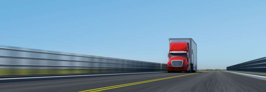 Semi-trailer on the road. Photoreal 3D render