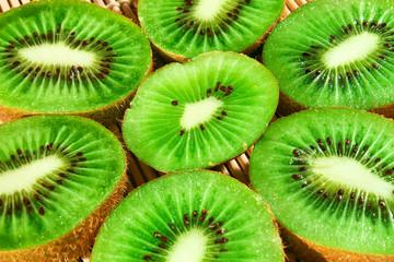 Fresh kiwi slices on a bamboo mat-2