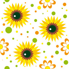 Seamless pattern with sunfowers, chamomiles