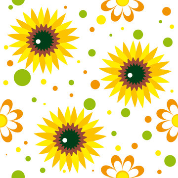 Seamless pattern with sunfowers, chamomiles