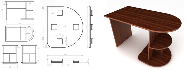desk for pc with sketch