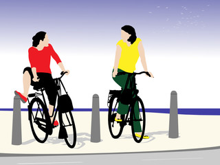 two teen girls on cycling trip