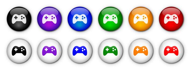 """Boutons """"Jeux Vidéo"""" (x12 - multicolores)"""