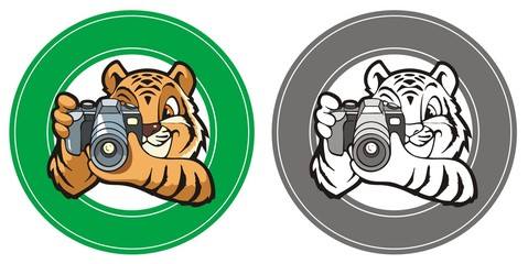 Tiger-photographer in a circle, element for design, vector