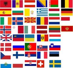 Flags of all European country.