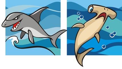 Marine life, gray shark and hammerhead shark, vector