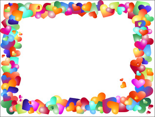 Vector frame from multicolored hearts
