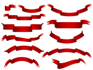 red vector banners set