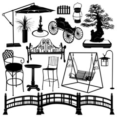 garden objects vector set