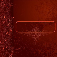 Brown-red Grunge Lace Background With Banner