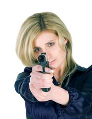girl aiming a gun