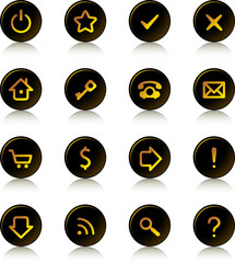 Web buttons set - ring dark buttons, gold signs