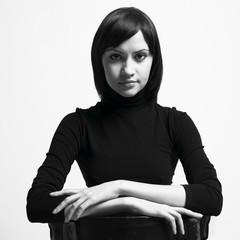 Beautifu woman in black jacket
