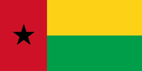 Flag of Guinea-Bissau. Illustration over white background