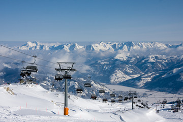 Ski lift under high mountains. Kaprun, Austria.