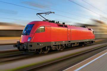Modern european electric locomotive with motion blur