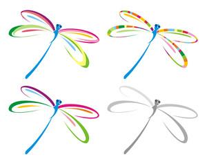 Set of color dragonfly. Vector illustration.