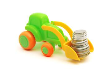 The toy excavator loads money