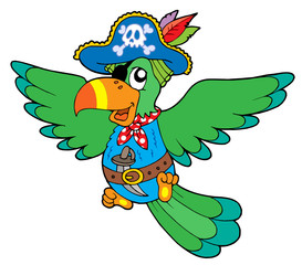 Türaufkleber Pirates Flying pirate parrot