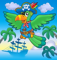 Foto auf AluDibond Pirates Flying pirate parrot with boat