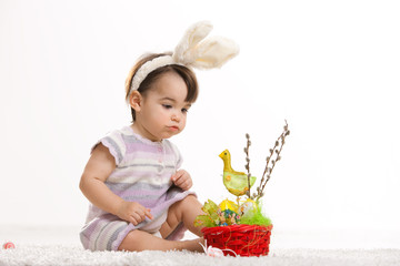 Baby in easter bunny costume