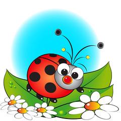 Ladybug and flowers - Kids illustration