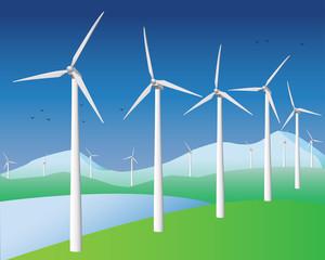 Wind turbines in a row