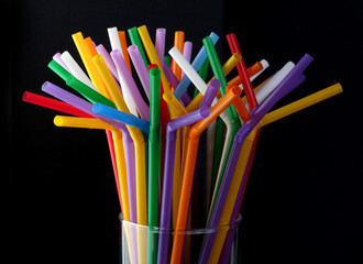 Glass with straws