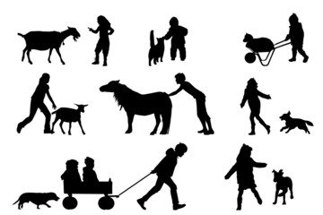 children playing with animals silhouette collection