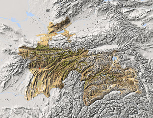Tajikistan, shaded relief map, colored for vegetation