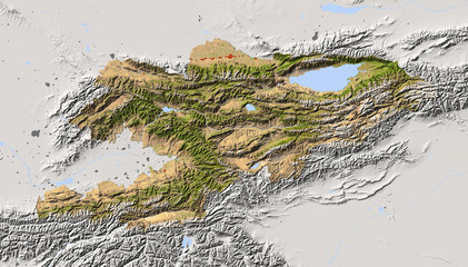 Kyrgyzstan, shaded relief map, colored for vegetation