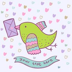 Bird mail - cartoon cute illustration in vector