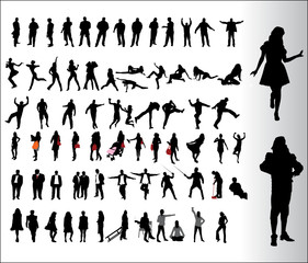 many people silhouettes