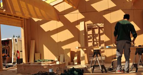 Stitched Panorama maison en bois 2