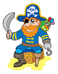 Papiers peints Pirates Pirate sitting on treasure chest
