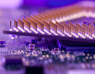 macro cpu pins in blue diode light