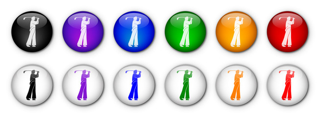 "Buttons ""Golf"" (x12) (various colours)"