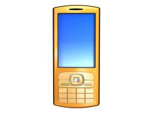 golden mobile phone isolated on white