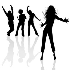 Silhouettes dancing girls