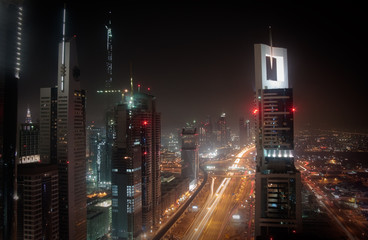 Cityscape of Dubai at night