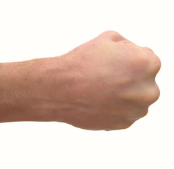 Man's fist isolated on a white background.