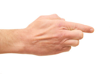 Man's hand isolated on a white background.