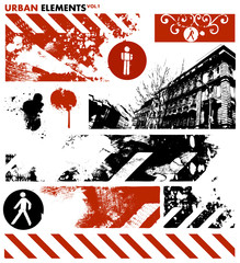 Papiers peints Rouge, noir, blanc urban design elements