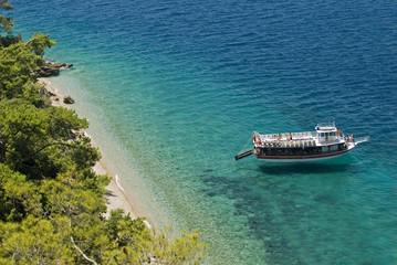 Aerial view of a remote beach in Gokova Bay, Turkey.