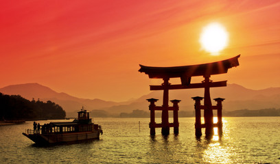 Poster Japan Sunset view of Torii gate, Miyajima, Japan