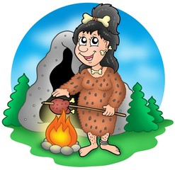 Cartoon prehistoric woman before cave