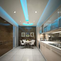 kitchen interior design in blue light