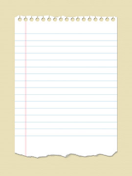 A page of ruled notebook paper