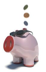 Piggy bank in subglasses